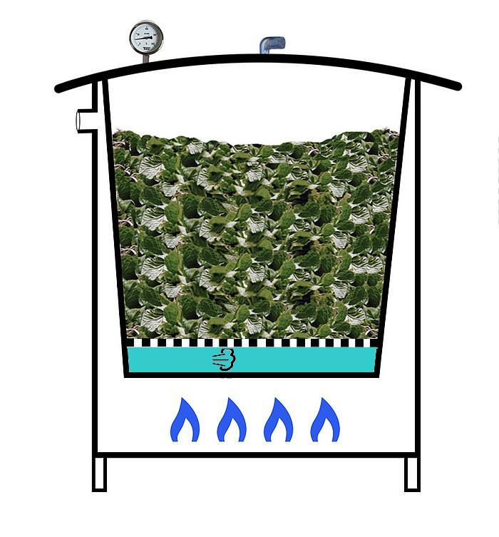 Cuve d'alambic hydro distillateur chauffage gaz