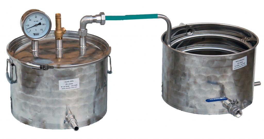 distillateur alambic inox 25 litres pour production huiles essentielles