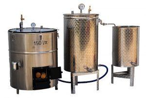3° Solution économique : Bouilleur vapeur chauffé au bois + alambic/distillateur séparé