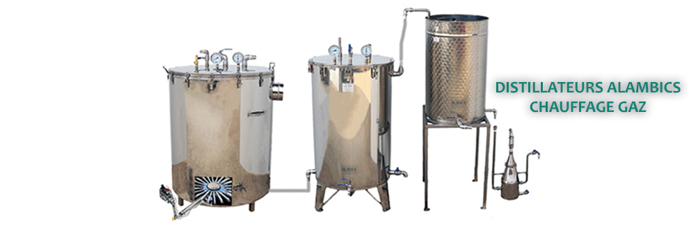 distillateur alambic huiles essentielles inox chauffé au gaz